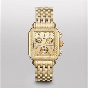 Michele Signature Deco High Shine Gold Watch